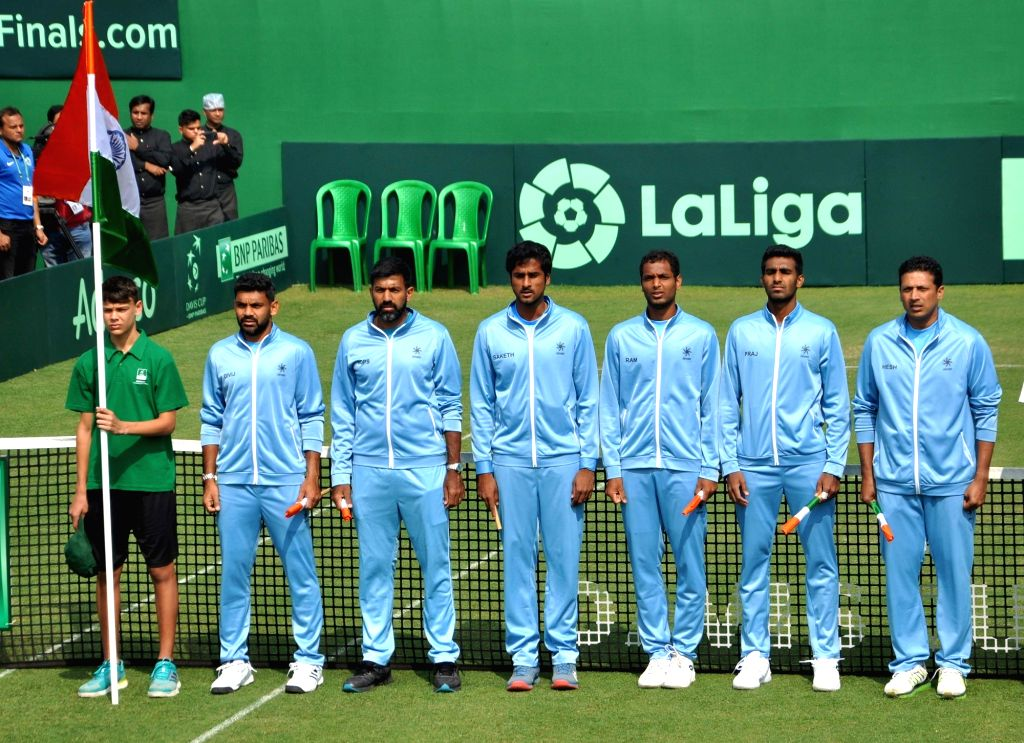 Indian tennis players during a Davis Cup World Group rubber against Italy in Kolkata, on Feb 1, 2019.