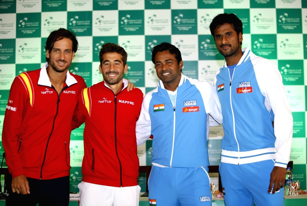 Indian tennis players Leander Paes and Saketh Myneni, Spanish tennis players Marc Lopez and Feliciano Lopez during Davis Cup 2016 draw ceremony in New Delhi on Sept 15, 2016.