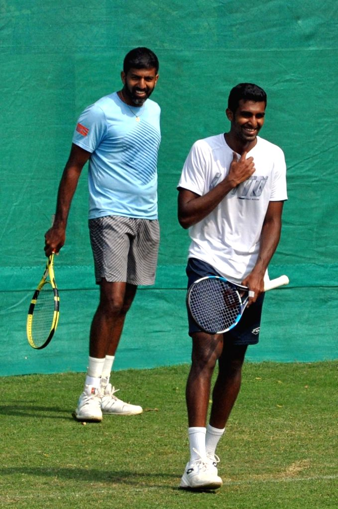Indian tennis players Rohan Bopanna and Prajnesh Gunneswaran during a practice session ahead of the Davis Cup World Group qualifier against Italy on February 1-2, in Kolkata, on Jan 29, 2019. - Rohan Bopanna