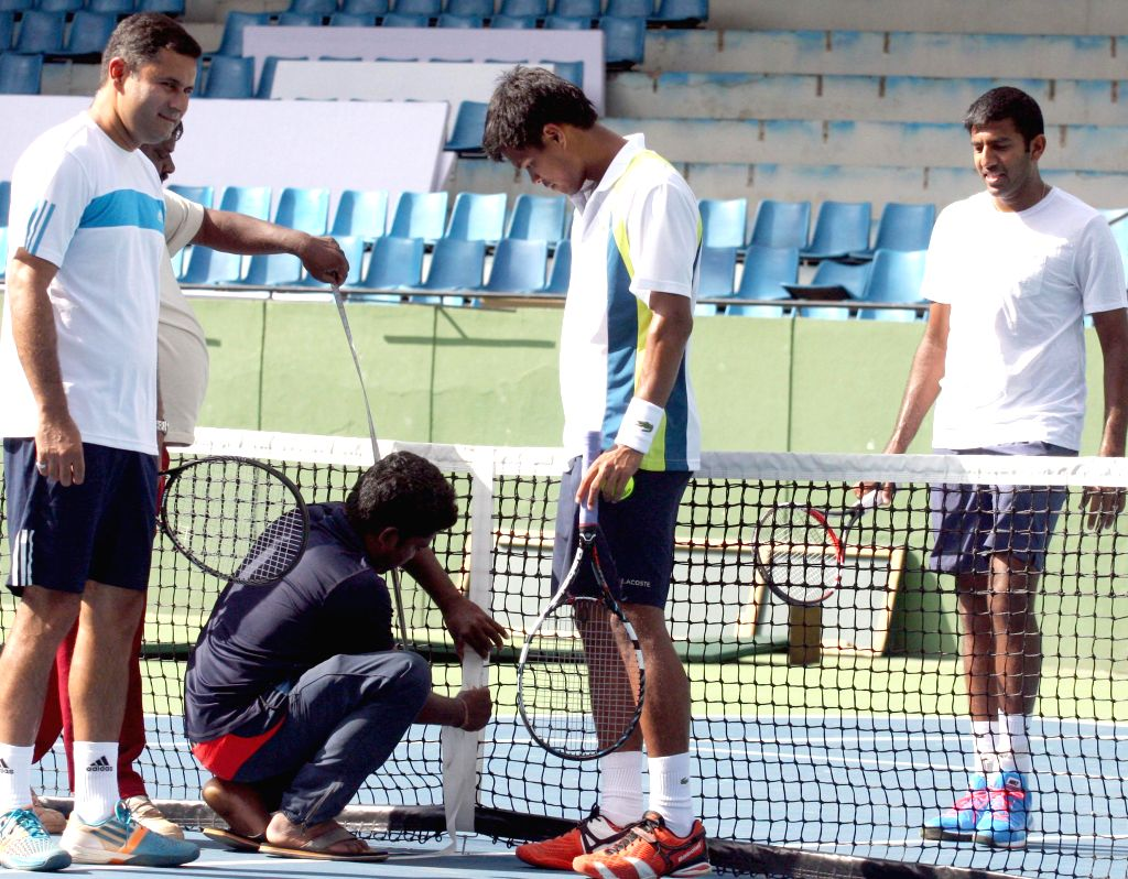 Indian tennis players Somdev Devvarman and Rohan Bopanna during a practice session ahead of Davis Cup 2014 at KSLTA in Bangalore on Sept 9, 2014. - Rohan Bopanna