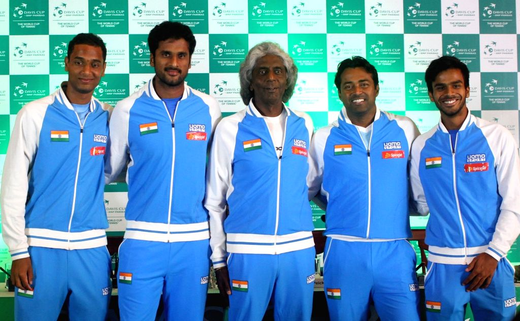 Indian tennis team Anand Amritraj, Leander Paes, Saketh Myneni, Ramkumar Ramanathan and Sumit Nagal during Davis Cup 2016 draw ceremony in New Delhi on Sept 15, 2016.