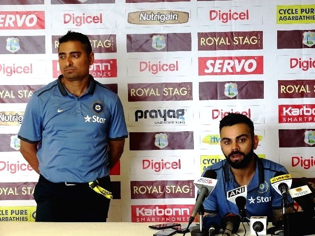 Indian Test captain Virat Kohli addresses during a press conference at Kingston, Jamaica July 31, 2016. - Virat Kohli