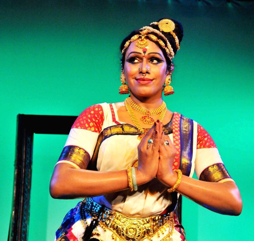 Indian Transgender Bharatanatyam dancer Malikka performs during Expression Beyond Gender - first international Trans Arts festival to be organised in India; in Bengaluru on July 31, 2016. - Malik