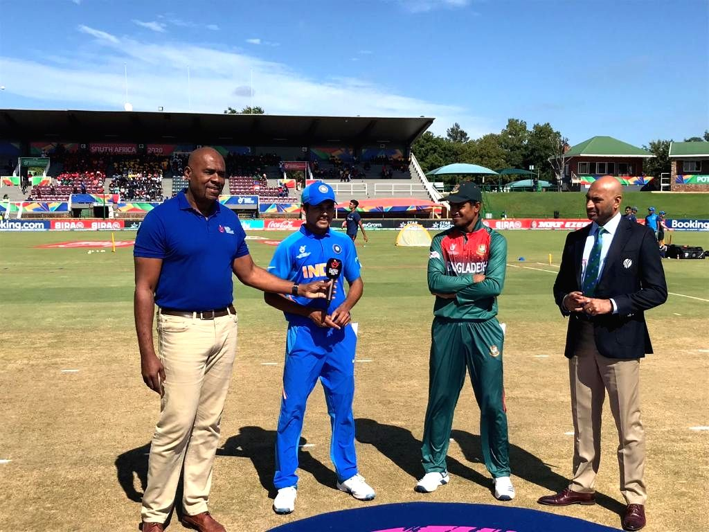Indian Under 19 captain Priyam Garg and Bangladesh captain Akbar Ali during the toss ahead of the ICC U19 World Cup final between India and Bangladesh, in Potchefstroom, South Africa ... - Priyam Garg