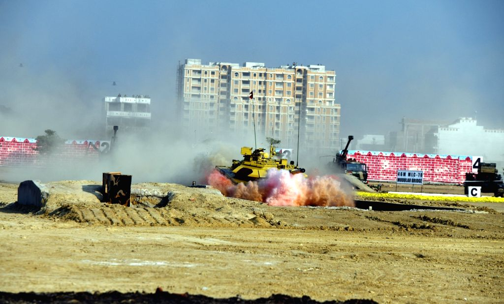 Indian war tank during a mock battle exercise at the inaugural session of the 11th edition of Defexpo, in Lucknow on Feb 5, 2020.