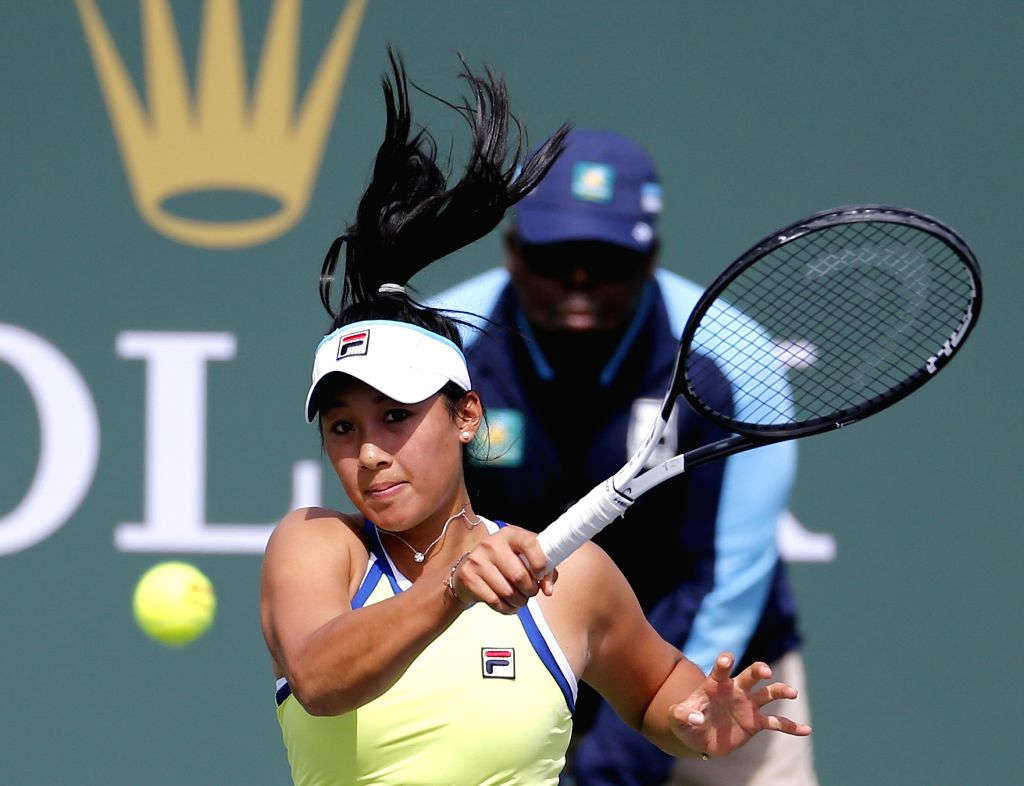 INDIAN WELLS, March 5, 2019 - Priscilla Hon of Australia hits a return during the women's singles qualifying match against Anastasia Potapova of Russia of the BNP Paribas Open tennis tournament in ...