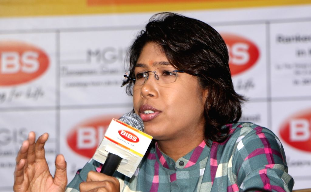 Indian woman cricketer Jhulan Goswami interacts with the students of Bengal Institute of Business Studies (BIBS) in Kolkata on Aug 2, 2019. - Jhulan Goswami