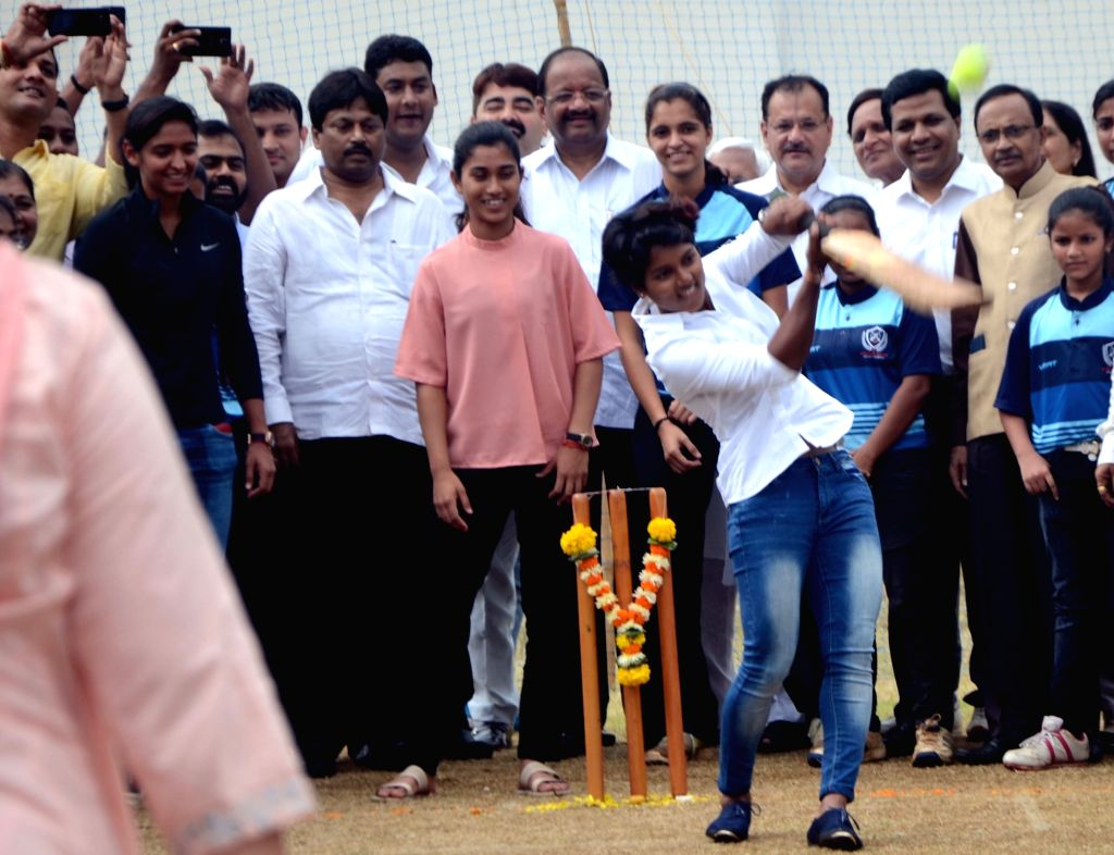 Indian women cricketer Poonam Raut during the launch of her cricket academy at Poisar Gymkhana, Kandivali in Mumbai on Sept 16, 2017. Also seen Indian women's cricket team vice-captain ... - Harmanpreet Kaur