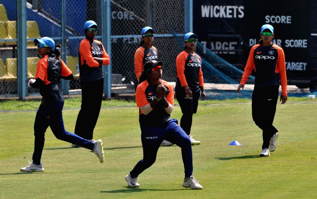 Indian women cricketers during a practice session ahead of their T20 International Cricket match against England at ACA Cricket Stadium Barsapara, in Guwahati on March 3, 2019.