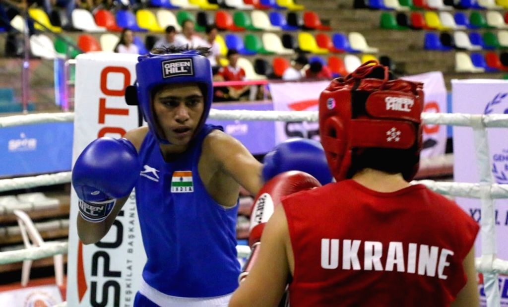 Indian women pugilist Ankushita Boro in action during the Ahmed Comert International Boxing Championship in Istanbul on Sept 16, 2017.