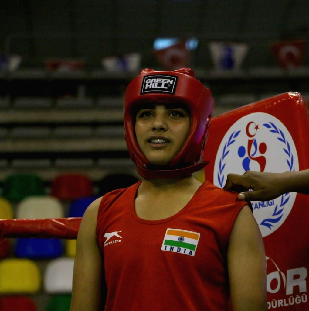 Indian women pugilist Jyoti in action during the Ahmed Comert International Boxing Championship in Istanbul on Sept 16, 2017.