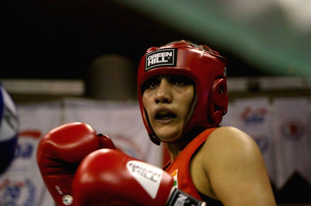 Indian women pugilist Lalita in action during the Ahmed Comert International Boxing Championship in Istanbul on Sept 16, 2017.
