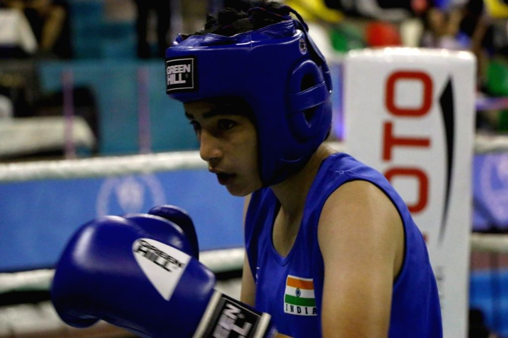 Indian women pugilist Parveen in action during the Ahmed Comert International Boxing Championship in Istanbul on Sept 16, 2017.