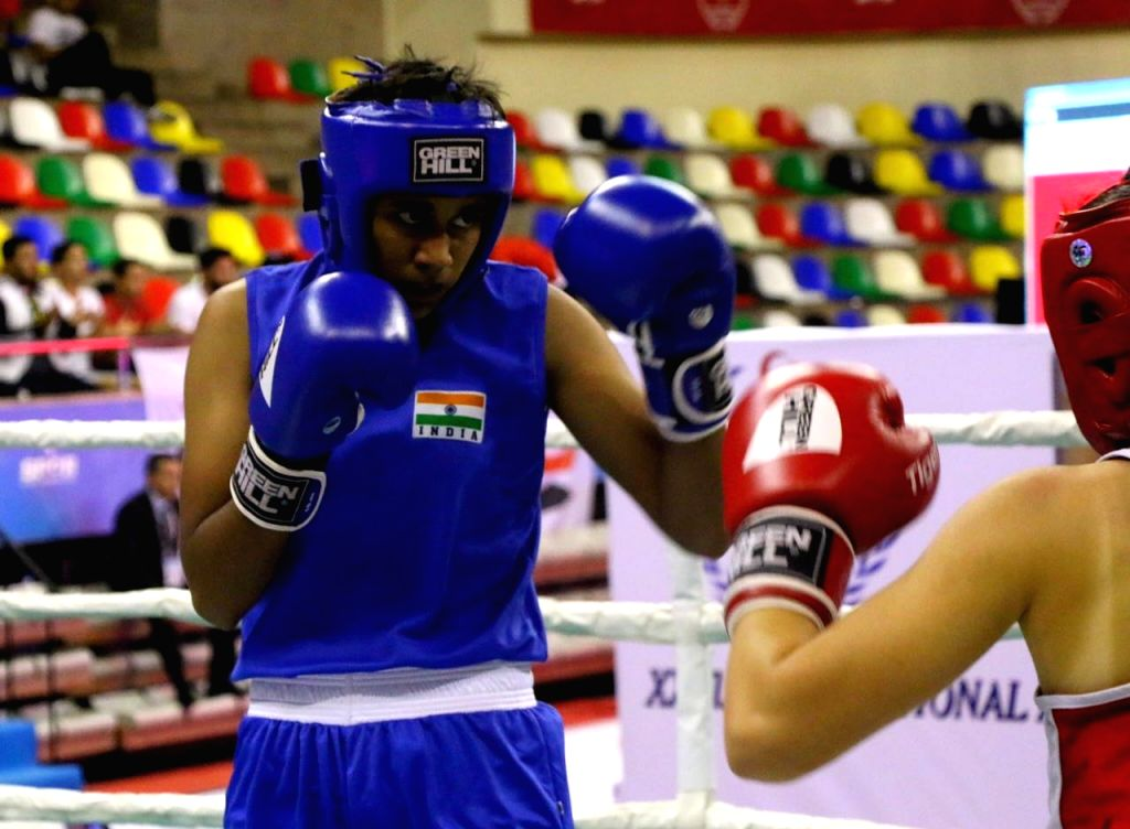 Indian women pugilist Shashi Chopra in action during the Ahmed Comert International Boxing Championship in Istanbul on Sept 16, 2017. - Shashi Chopra