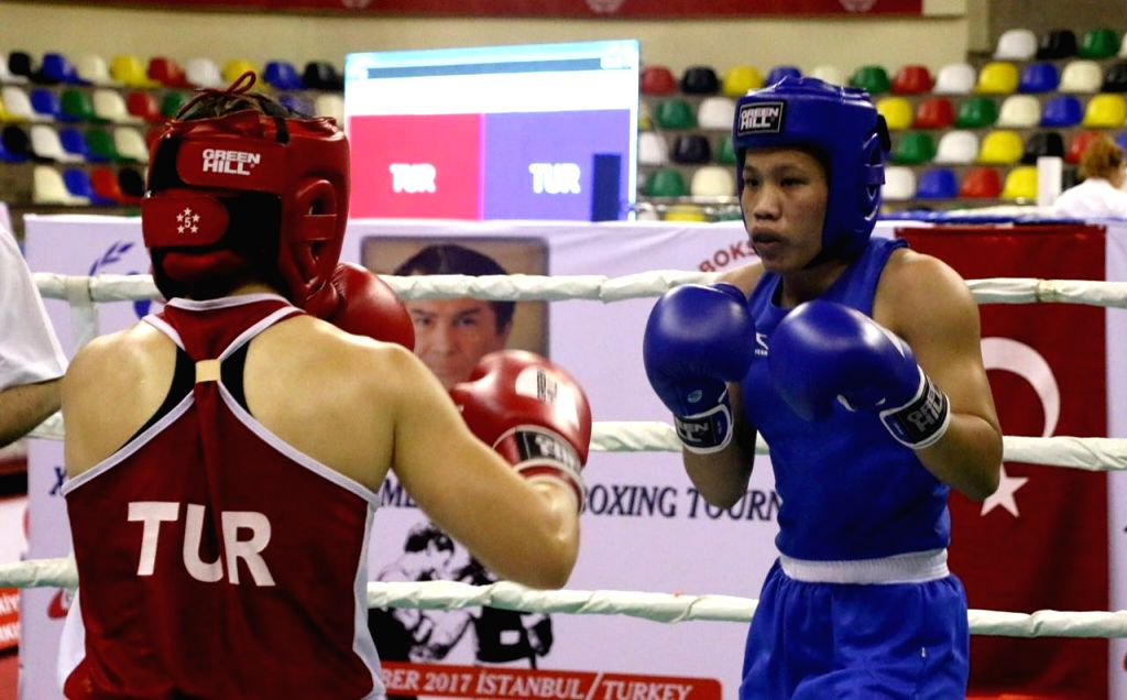 Indian women pugilist Tilotama Chanu in action during the Ahmed Comert International Boxing Championship in Istanbul on Sept 16, 2017.