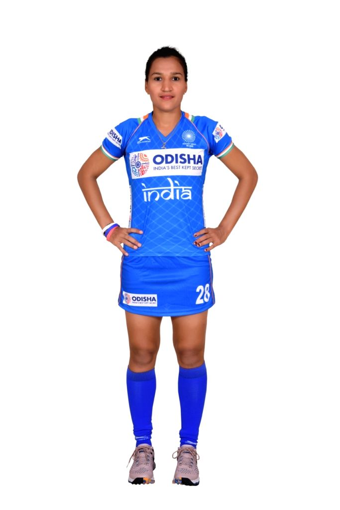 Indian Women's hockey team captain Rani in the new Blue uniform. Hockey Fans can watch the Manpreet Singh-led Indian Men's team donning the new uniform at the forthcoming FIH Men's Series Finals Bhubaneswar Odisha 2019 starting 6 June 2019 while the  - Rani and Manpreet Singh