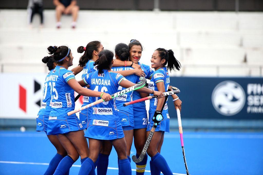 Indian Women's Hockey team celebrates after scoring a goal during the FIH Women's Series Finals Hiroshima.