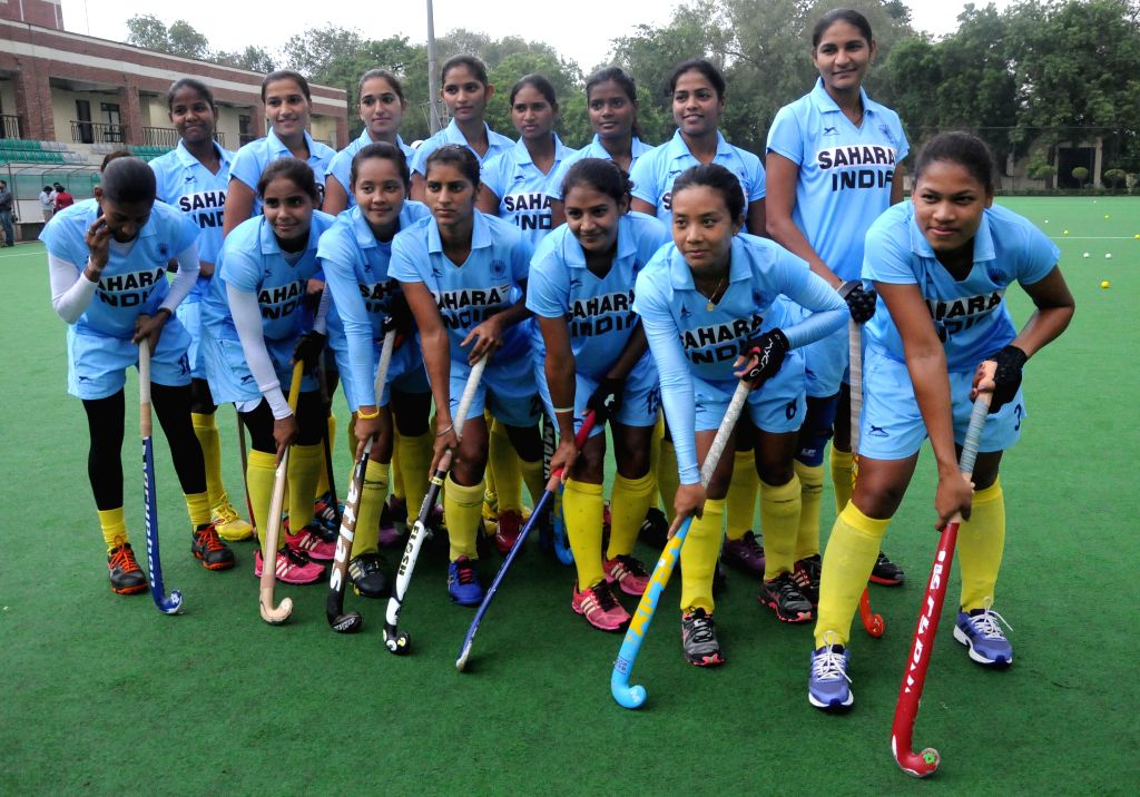 Indian Women's Hockey team during a practice session at Major Dhyan Chand National Stadium ahead of upcoming Asian Games in New Delhi on Sept 3, 2014.