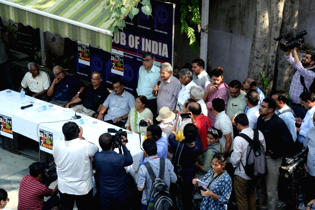 Indian Women's Press Corps (IWPC) and Press Association carry out protest meeting in the wake of senior journalist and activist Gauri Lankesh's murder at Press Club in New Delhi on ...