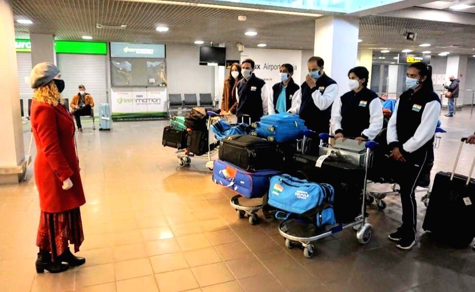 Indian women's tennis team reaches Latvia for BJK Cup.