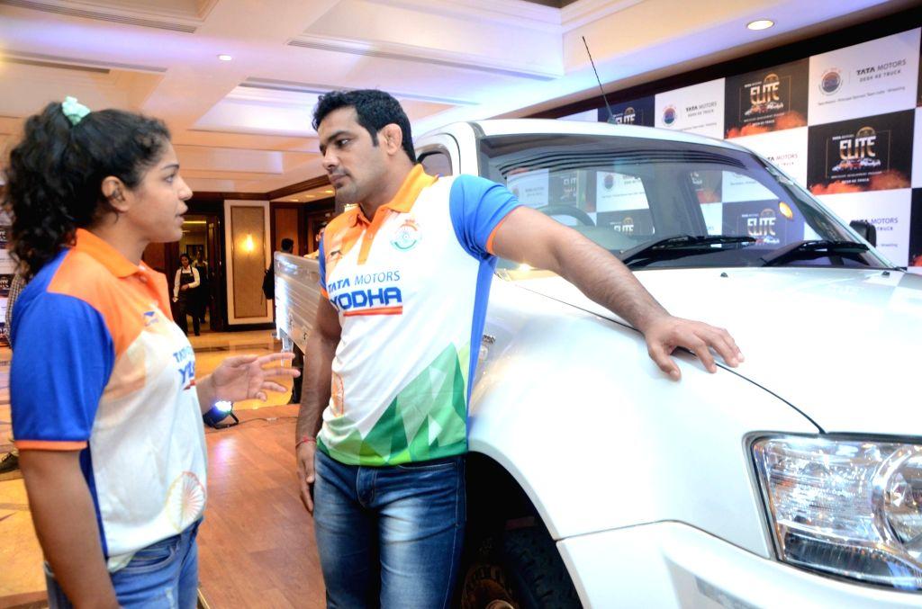 Indian wrestlers Sushil Kumar and Sakshi Malik during Tata Motors Elite Wrestlers Development Programme, in Mumbai, on Dec 12, 2018. - Malik and Sushil Kumar