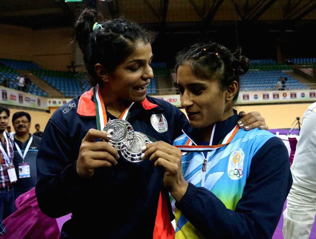 Indian wrestlers Vinesh Phogat and Sakshi Malik won silver medal during Asian Wrestling Championships in New Delhi on May 12, 2017. - Malik