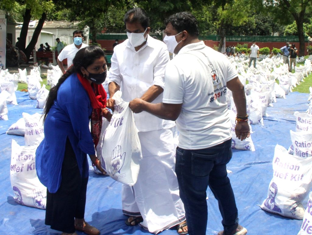 Indian Youth Congress (IYC) distribute food for needy peoples on occasion of Birth anniversary of Rahul Gandhi at IYC office Raisina hill in New Delhi on Saturday June 19, 2021. - Rahul Gandhi