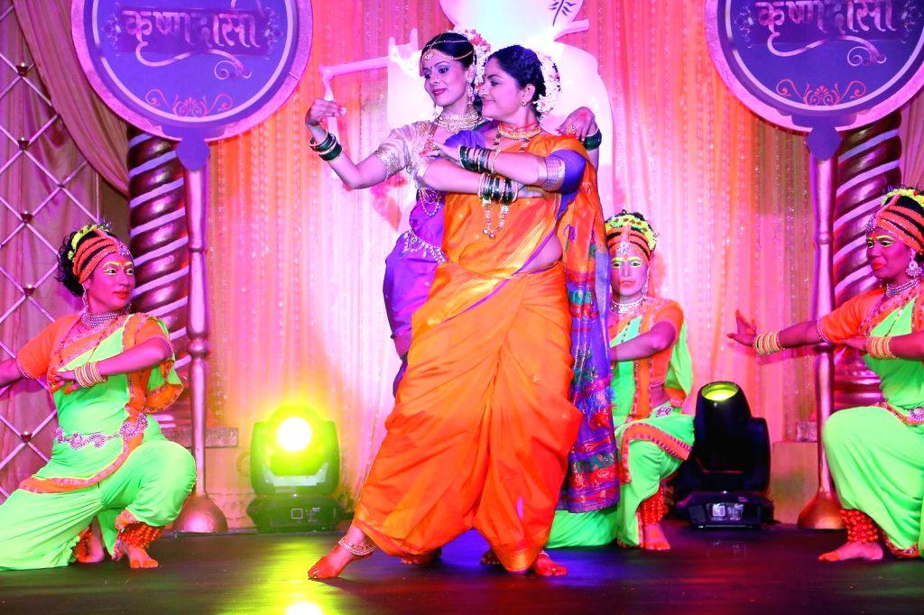 Indira Krishnan as Kumudini and Chhavi Mittal as Tulsi during the lauch of new TV Serial 'Krishnadasi' in Colors TV Channel in Mumbai.