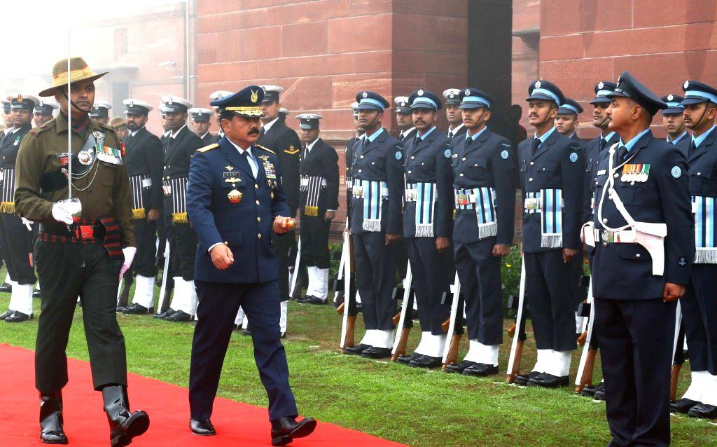 Indonesian National Defence Forces, Commander-in-Chief Air Chief Marshal Hadi Tjahjanto inspects the Guard of Honour at South Block in New Delhi, on Feb 4, 2019.