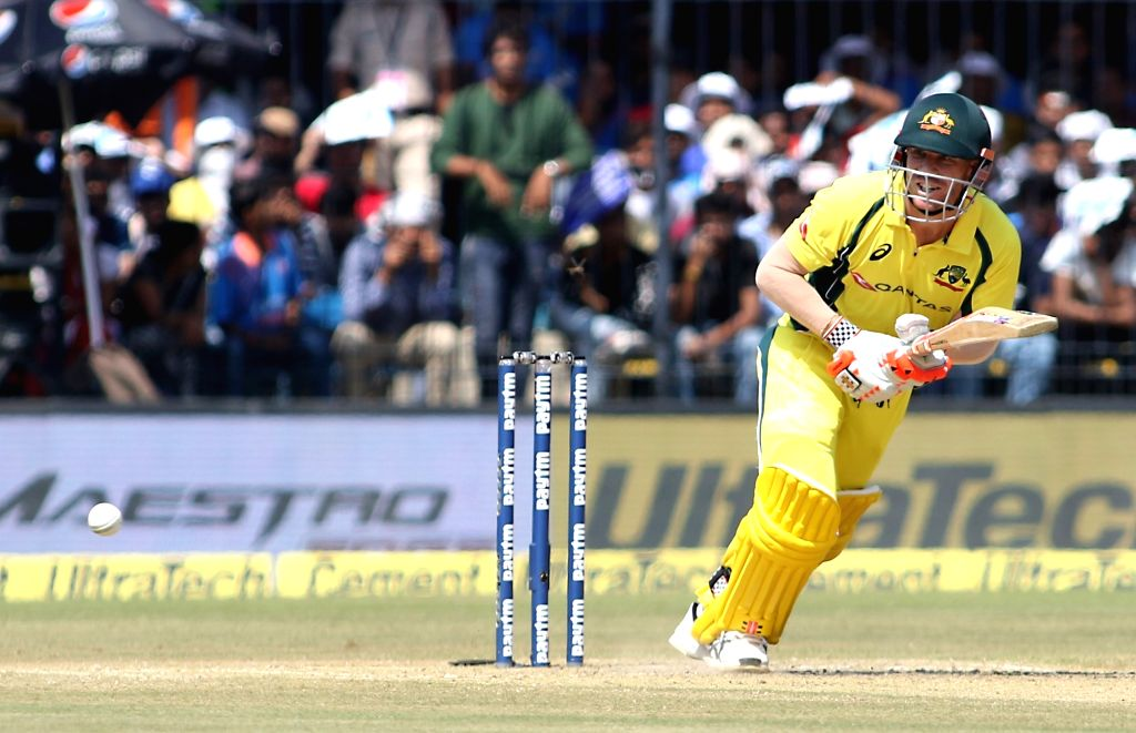 Indore: Australian cricketer David Warner in action during the third ODI cricket match between India and Australia at Holkar Cricket Stadium in Indore on Sept 24, 2017. (Photo: Surjeet Yadav/IANS) - Surjeet Yadav