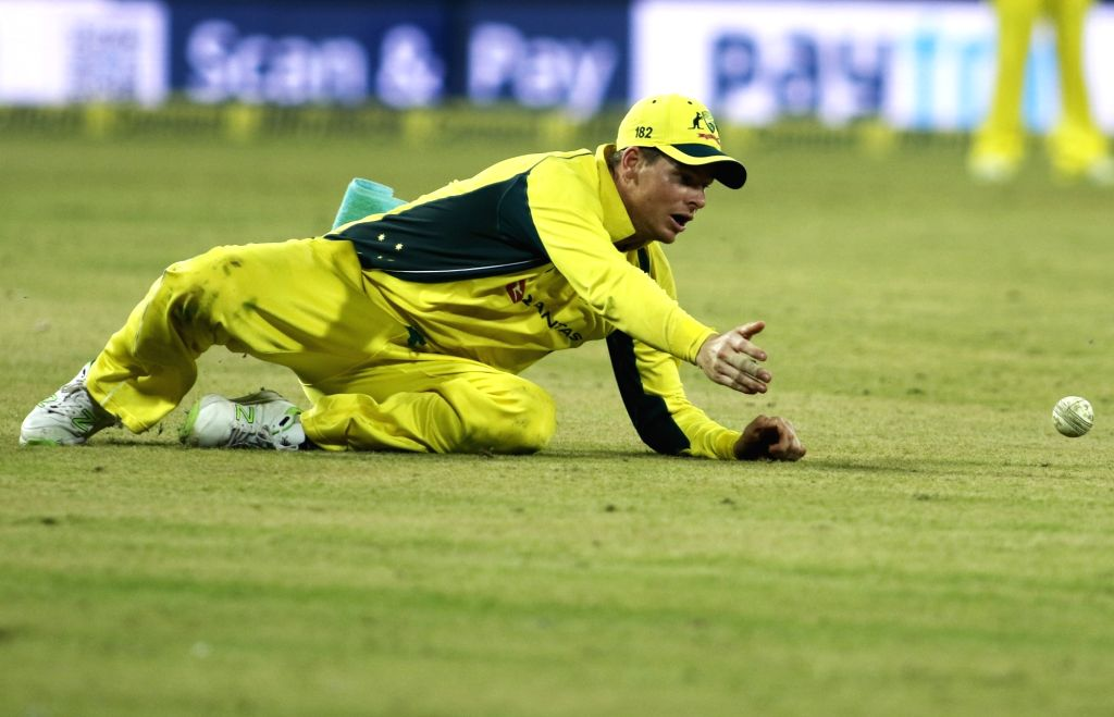 Indore: Australian skipper Steve Smith in action during the third ODI cricket match between India and Australia at Holkar Cricket Stadium in Indore on Sept 24, 2017. (Photo: Surjeet Yadav/IANS) - Surjeet Yadav