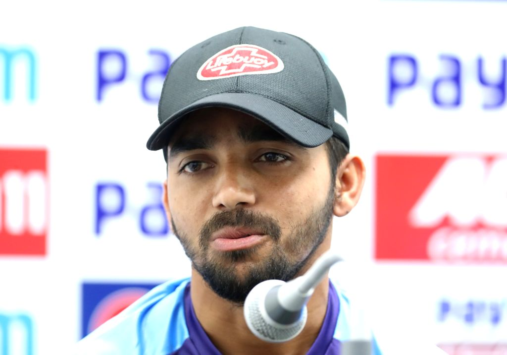 Indore: Bangladesh captain Mominul Haque addresses a press conference ahead of the 1st Test match against India, at Holkar Cricket Stadium in Indore, Madhya Pradesh on Nov 13, 2019. (Photo: IANS) - Mominul Haque