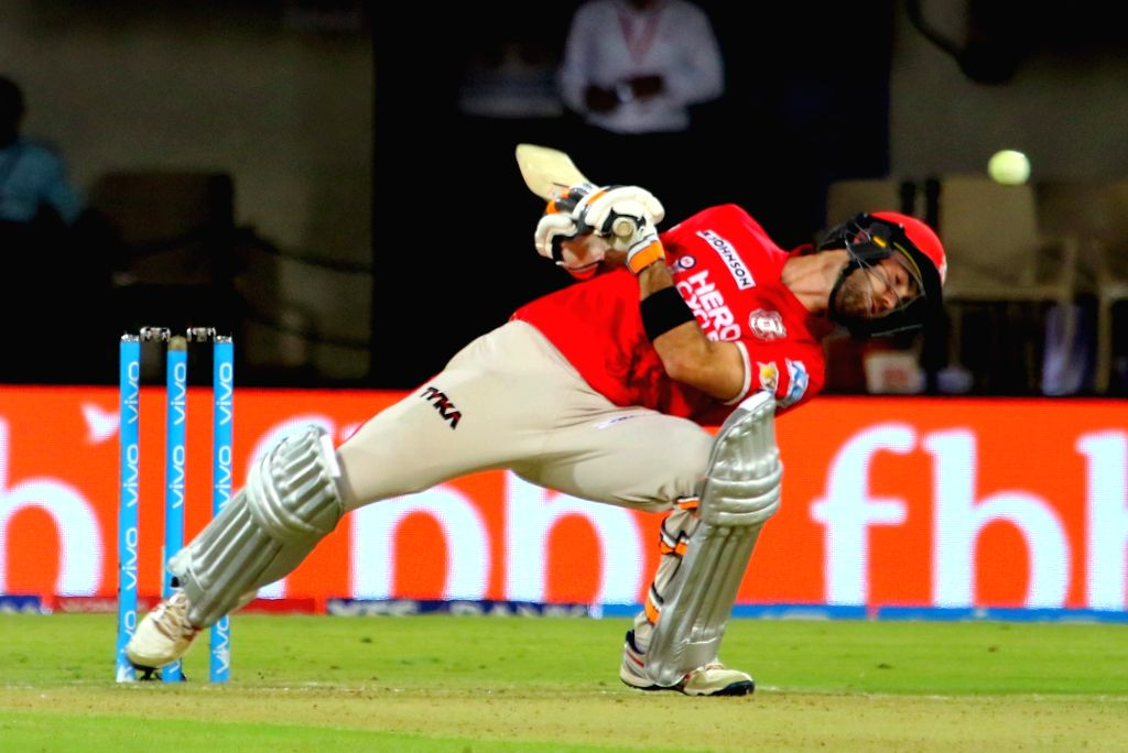 Indore: Glenn Maxwell of Kings XI Punjab in action during an IPL 2017 match between Kings XI Punjab and Mumbai Indians at Holkar Cricket Stadium in Indore on April 20, 2017.