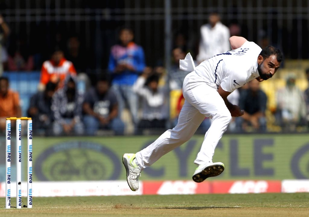 Indore: India's Mohammed Shami in action on Day 1 of the 1st Test match between India and Bangladesh at Holkar Cricket Stadium in Indore, Madhya Pradesh on Nov 14, 2019. (Photo: Surjeet Yadav/IANS) - Surjeet Yadav
