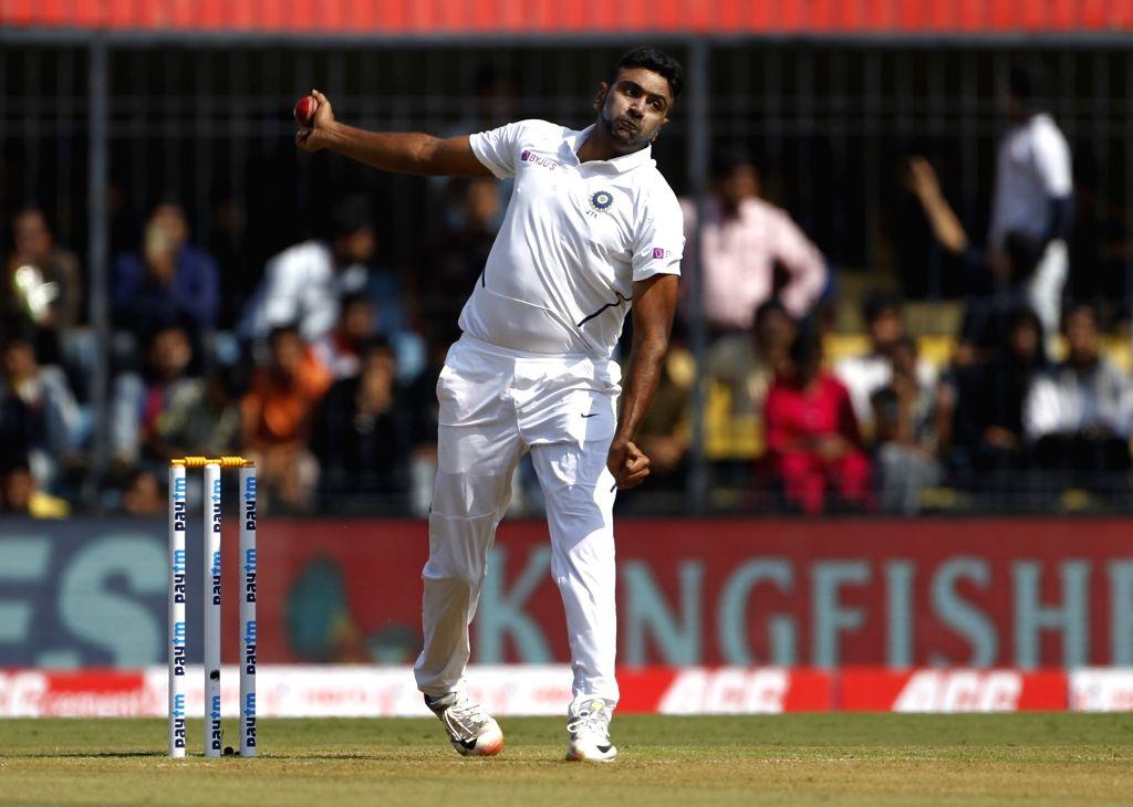 Indore: India's Ravichandran Ashwin in action on Day 1 of the 1st Test match between India and Bangladesh at Holkar Cricket Stadium in Indore, Madhya Pradesh on Nov 14, 2019. (Photo: Surjeet Yadav/IANS) - Surjeet Yadav