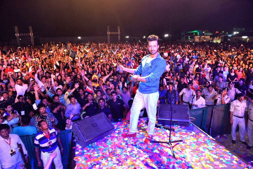 Pakistani singer Atif Aslam performs during MTV Bollyland in Indore.