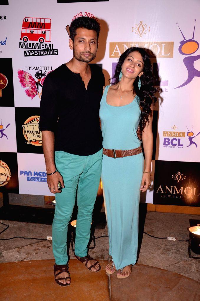 Indraneil Sengupta and Barkha during the success party Box cricket league (BCL) in Mumbai, in Mumbai on May 8, 2014.