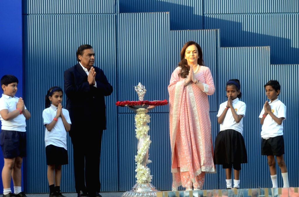 Industrialist Mukesh Ambani and his wife Nita Ambani at the inauguration of Dhirubhai Ambani Square, in Mumbai's Bandra Kurla Complex on March 6, 2019. - Mukesh Ambani, Nita Ambani and Dhirubhai Ambani Square