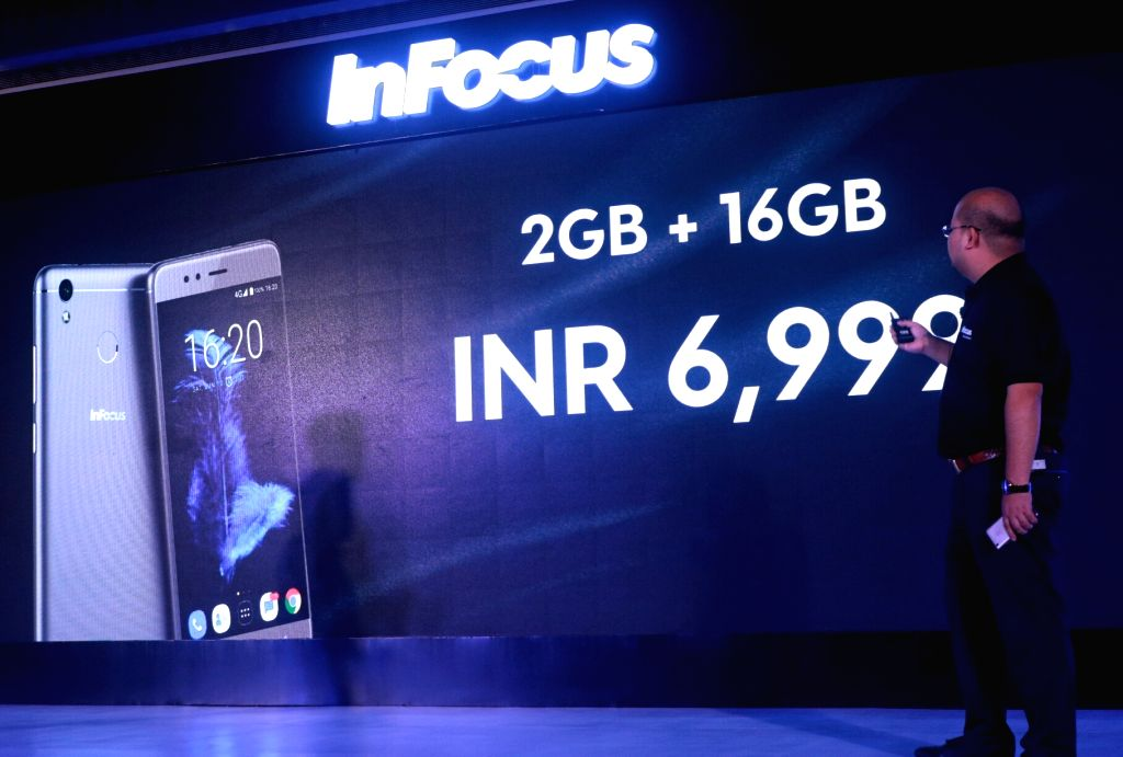 """InFocus Global CEO Dr. Lou Zhongsheng at the re-launch of smartphone """"Turbo 5"""" in New Delhi, on June 28, 2017."""