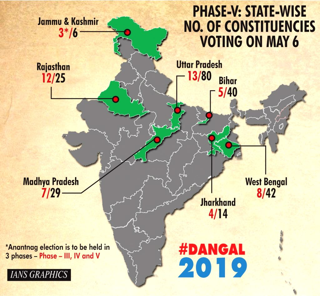Infographics: Phase-V: State-wise number of constituencies voting on May 6 . (IANS Infographics)
