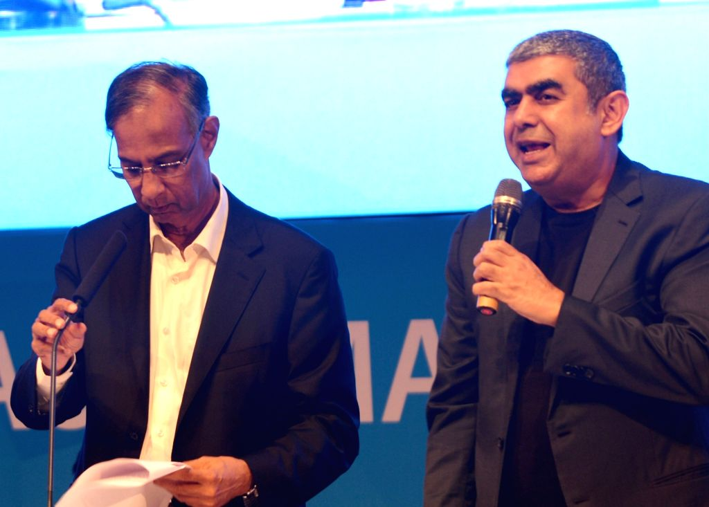 Infosys' CEO and Managing Director Vishal Sikka and Board Chairman S Seshasayee during Infosys' Annual General Meeting (AGM) in Bengaluru on June 24, 2017.