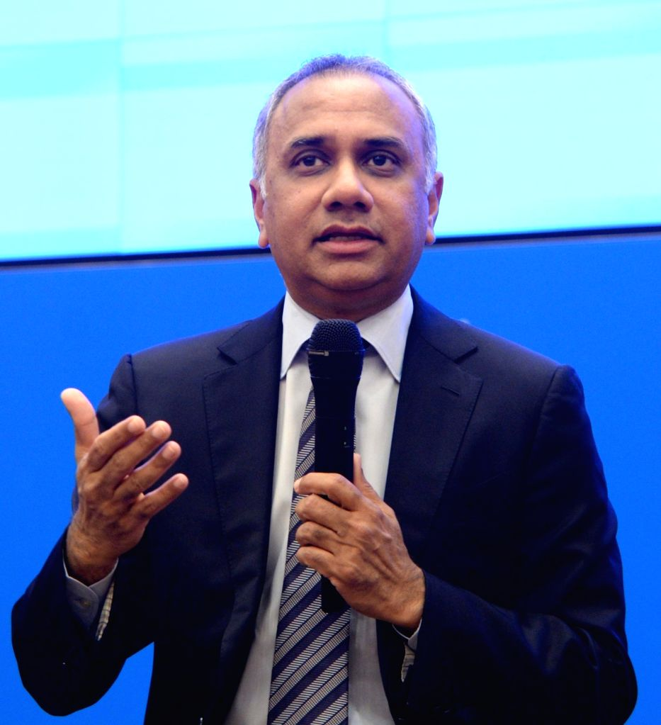 Infosys CEO Salil Parekh addresses during a press conference to announce the company's second quarter (Q2) results for the fiscal year 2019-20, in Bengaluru on Oct 11, 2019.