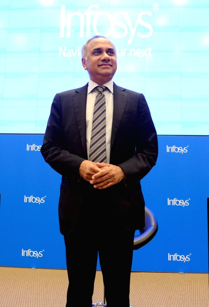 Infosys CEO Salil Parekh during a press conference to announce the company's second quarter (Q2) results for the fiscal year 2019-20, in Bengaluru on Oct 11, 2019.