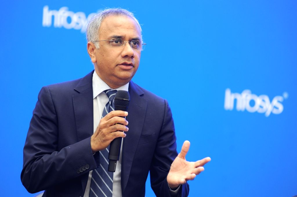 Infosys CEO Salil Parekh during the press conference to announce the company third quarter results, in Bengaluru on Jan 10, 2020.