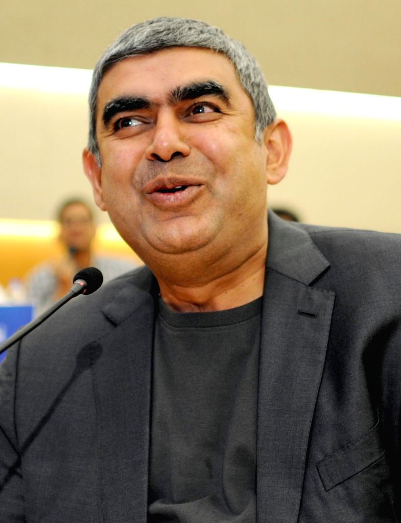 Infosys CEO Vishal Sikka addresses during a press conference to announce the fourth quarter results of the company in Bengaluru, on April 15, 2016.