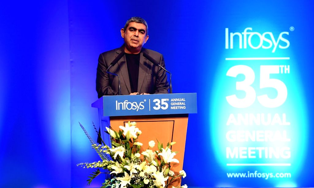 Infosys CEO Vishal Sikka addresses during the Infosys AGM in Bengaluru on June 18, 2016.