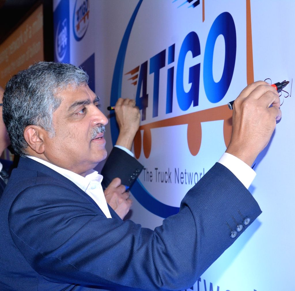 Infosys co-founder Nandan Nilekani uring a 4TiGO, The TruckNetwork press conference in Bengaluru, on June 1, 2016.