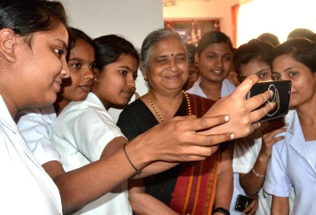 Infosys Foundation Chairperson Sudha Murthy inaugurates Karnataka Red Cross Opticals in Bengaluru on Oct 26, 2016.