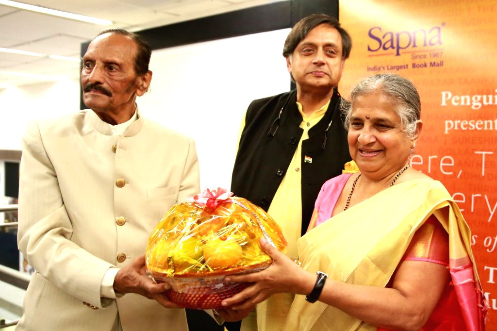"Infosys Foundation Chairperson Sudha Murthy, Congress leader Shashi Tharoor and Poet K. S. Nissar Ahmed at the launch of the book ""Here, There and Everywhere""  in Bengaluru, on ... - Shashi Tharoor"