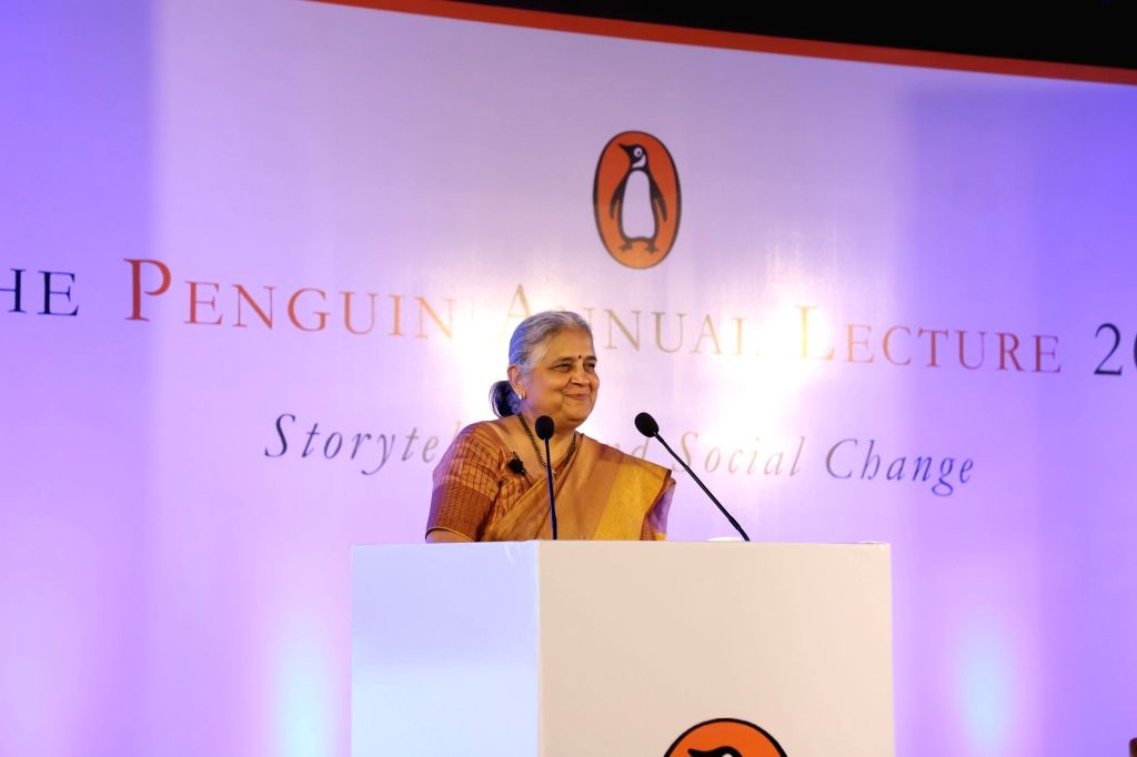 "Infosys Foundation Chairperson Sudha Murthy addresses at Penguin Annual Lecture 2019 on 'Storytelling and Social Change"" in New Delhi on Dec 11, 2019."